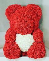 Мишка из роз, 40 см (красный с белым сердцем)