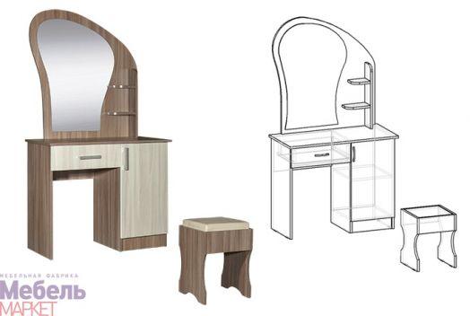 Спальня Светлана - Стол макияжный с банкеткой и ящиком (ясень шимо)
