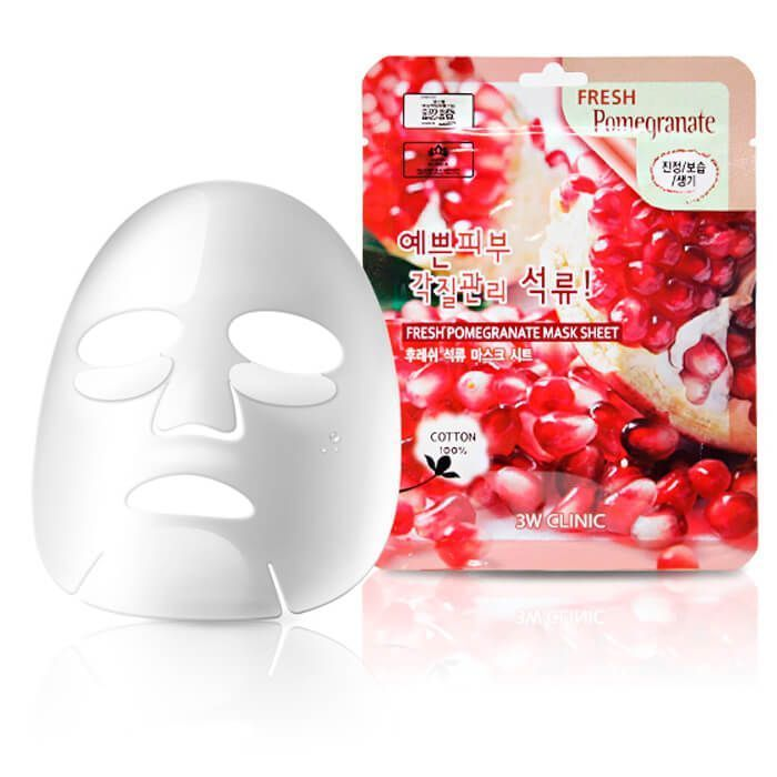 [3W CLINIC] Набор/Тканевая маска для лица ГРАНАТ Fresh Pomegranate Mask Sheet, 10 шт