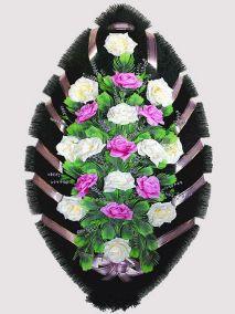 Ритуальный венок из искусственных цветов #24 фиолетово-белый из роз и зелени