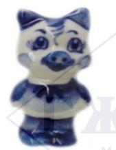 Сувенир Гжель Символ года 2019 ОПТОМ -  Хрюшка-девочка 5,5x2,5x2 см