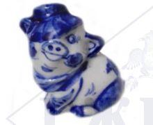 Сувенир Гжель Символ Года 2019 ОПТОМ Свинка Малышка-бандит 4,5x3,5x2,5 см