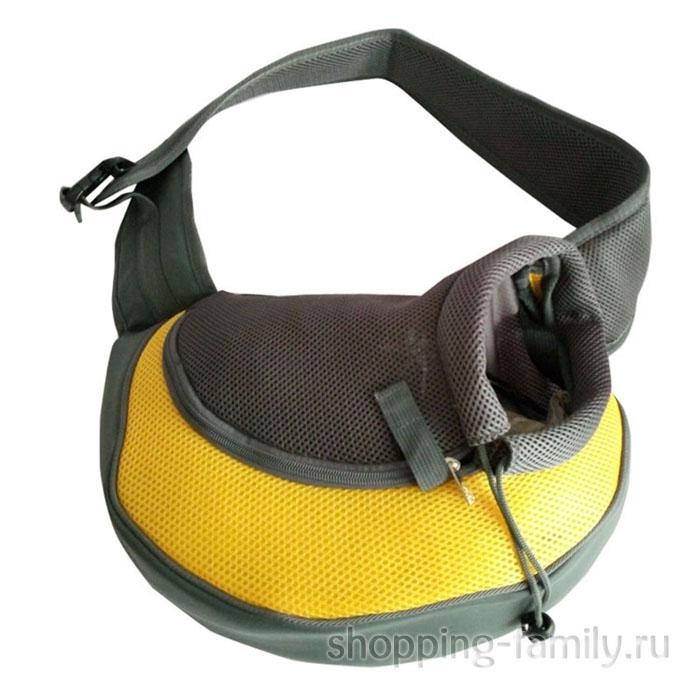 Сумка-переноска для кошек и мелких пород собак Single Shoulder Bag Sling, желтая