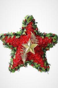 Ритуальный венок 110 см красная звезда