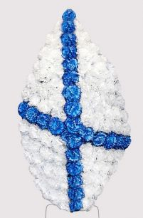 Фото - Венок ВМФ на возложение #3 белые и синие гвоздики