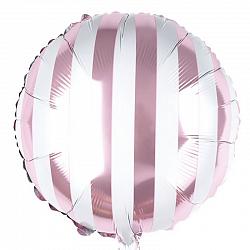 Бело-розовый круг в полоску фольгированный шар с гелием