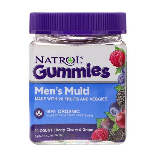 Natrol Gummies Мужские Мультивитамины со вкусом Ягоды, Вишни и Груши, 90 штук