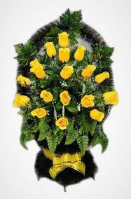 """Ритуальная корзина """"Александрия №2"""" с желтыми розами и зеленью"""