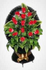 """Ритуальная корзина """"Александрия №3"""" красные розы и зелень"""