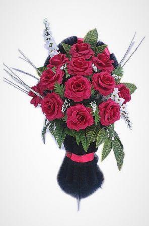 """Фото Ритуальная корзина """"Полуваза №2"""" алые розы, гладиолусы и зелень"""