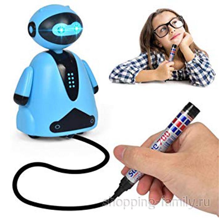 Индуктивная игрушка Робот с LED сенсором, голубой