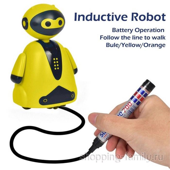 Индуктивная игрушка Робот с LED сенсором, желтый