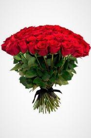 Похоронный букет из живых цветов 50 красных роз