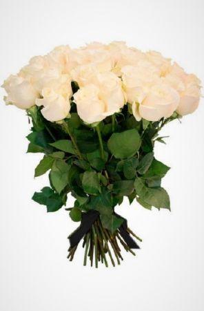 Фото Ритуальный букет из живых цветов 20 белых роз 70 см