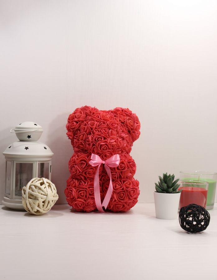 Мишка из роз 25см (красный)