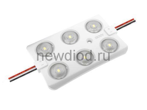 Светодиодный модуль с линзой PREMIUM SMD 2835/6LED 65*40*5мм 2,8W 300Lm 160° IP65 (белый холодный)