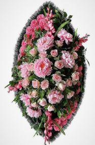 Ритуальный венок из искусственных цветов - Элит #36 розовый из хризантем и роз
