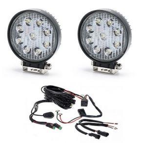 Комплект светодиодных круглых фар 54 Ватт с проводкой