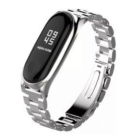 Металлический ремешок для Xiaomi Mi Band 3 серебро