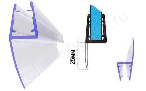 Серия-Ч Уплотнители для душевых кабин, толщина стекла (4,5,6,8,10мм) Длина 2,2 метра
