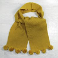 ш1000-11 Шарф с помпончиками горчица