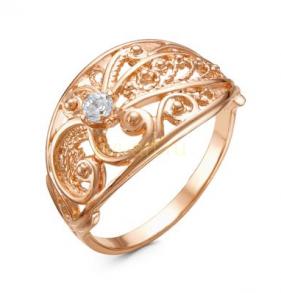 Позолоченное ажурное кольцо с фианитом (арт. 788054)