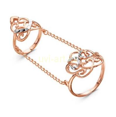 Позолоченное составное кольцо (на палец и фалангу) (арт. 7880557)