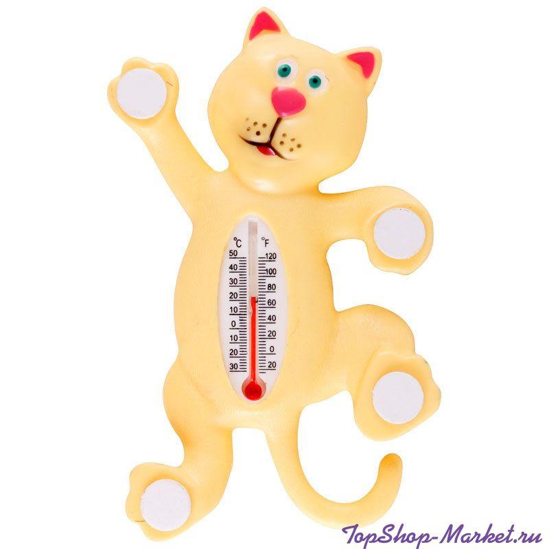 Термометр оконный на липучках КОТИК, 17х10 см