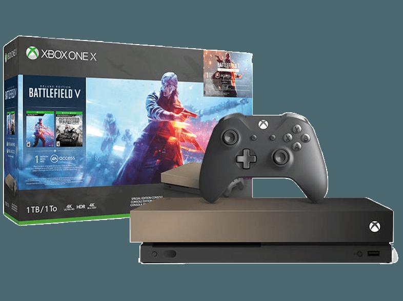 Игровая приставка Microsoft Xbox One X 1 ТБ Gold Rush + Battlefield V Deluxe Edition