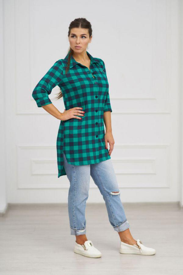 Туника-рубашка арт.0732-24 зеленая, кулирка