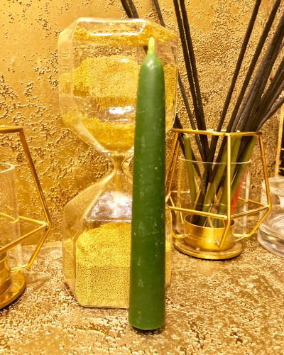 Зеленая восковая свеча 15 х 1.9 см