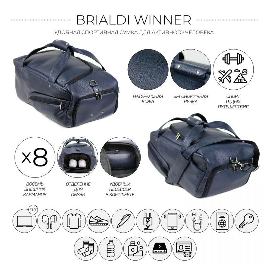 Дорожно-спортивная сумка BRIALDI Winner (Виннер) relief navy