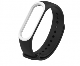 Ремешок для браслета Xiaomi Mi Band 3 черный с белым