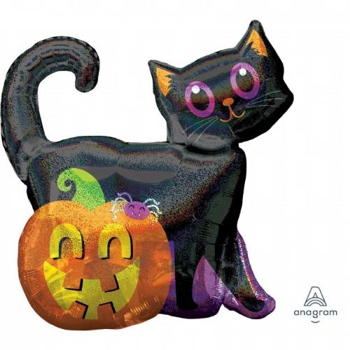 Черная кошка и тыква шар фольгированный с гелием