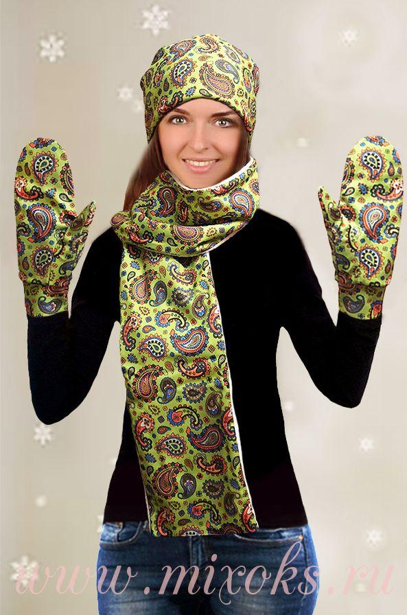 "Шапка, шарф, варежки ""Огурцы"", Зеленый"