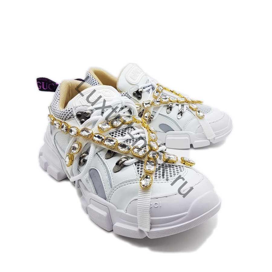 366e846b Брендовые женские кеды Гуччи (Gucci) белые с камнями купить в ...