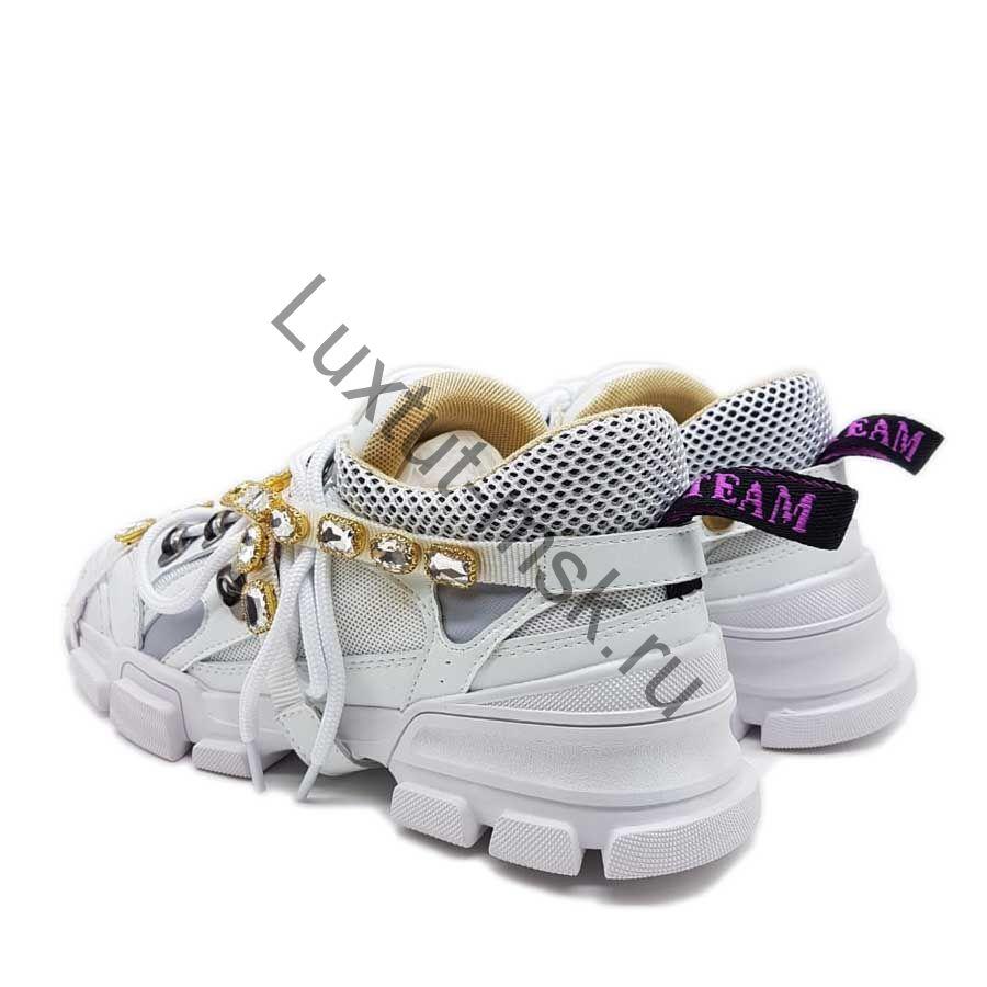3860824b Брендовые женские кеды Гуччи (Gucci) белые с камнями купить в ...