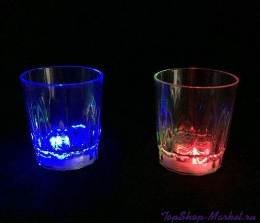 Светящаяся рюмка Light-up Liquid Activated Glass, 70 мл, 6 шт