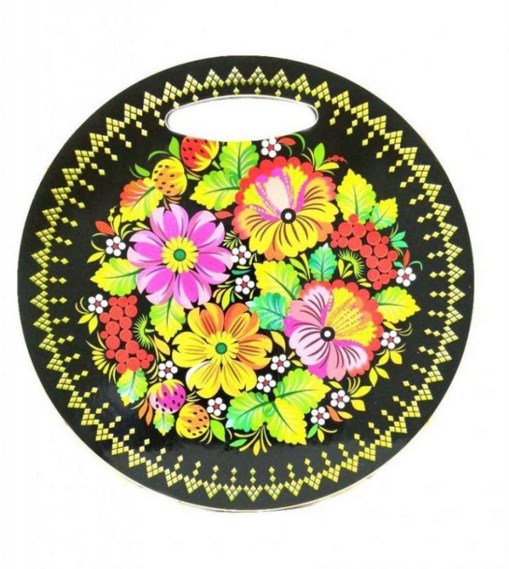 Круглая разделочная доска ХОХЛОМА, 25 см, 4 цветочка и ягоды