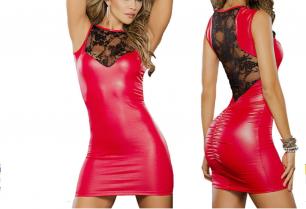 красное платье под латекс с кружевной спинкой, размеры S M L, модель 445