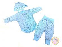 """Костюм для новорожденных: чепчик, боди, штаны dC-KS153-ITp (интерлок-пенье) """"Мамин Малыш"""" код 01406 голубой"""