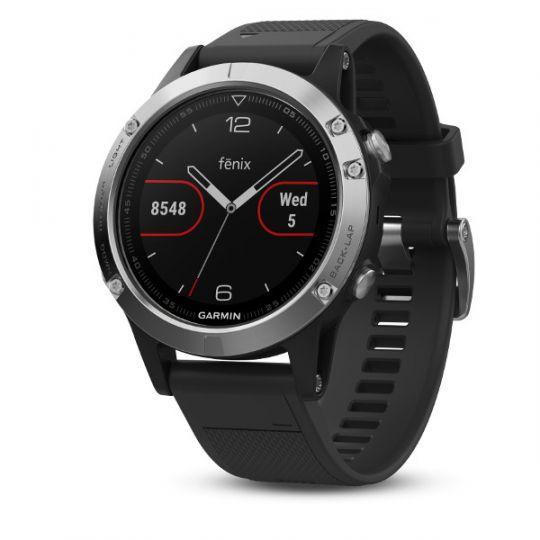 Часы Garmin Fenix 5 серебристые с черным ремешком