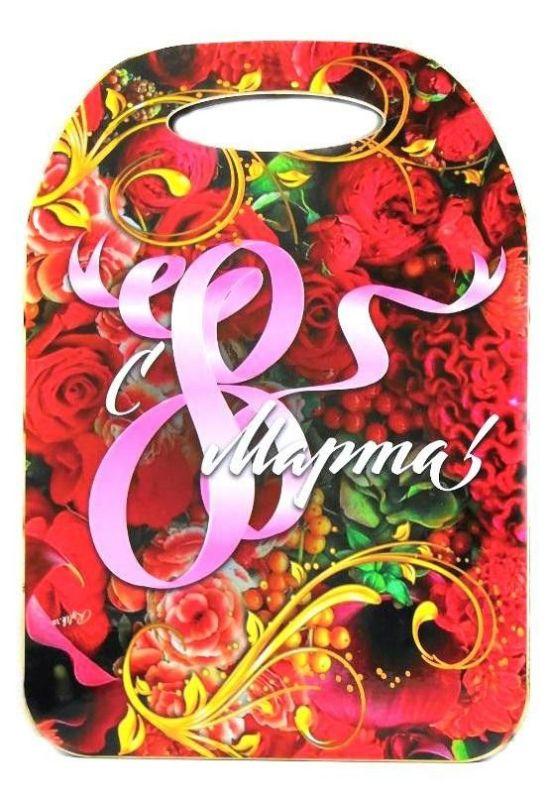 Сувенирная Разделочная Доска 8 Марта, Красные Цветы