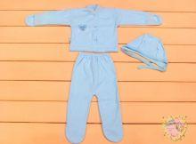 """Костюм для новорожденных: чепчик, кофта с варежками, ползунки dP-KS111-KHt (кашкорсе) """"Мамин Малыш"""" код 01544 голубой цвет"""
