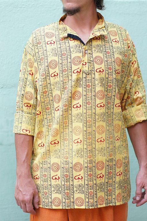Плотные яркие индийские рубашки с символом Ом (СПб)