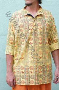Плотные ОРАНЖЕВЫЕ индийские рубашки с символом Ом (СПб)