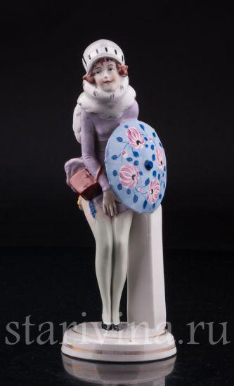 """Изображение """"Шаловливый ветерок"""", девушка с зонтиком, Carl Scheidig, Германия, нач. 20 в."""