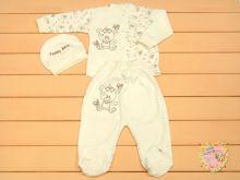 Костюм для новорожденных: шапка, кофта, ползунки код 01295 или dA3-KS211(e)-ITk(b) (интерлок-пенье) МАМИН МАЛЫШ