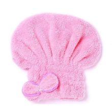 Мягкая махровая шапочка для быстрой сушки волос, Светло-розовый
