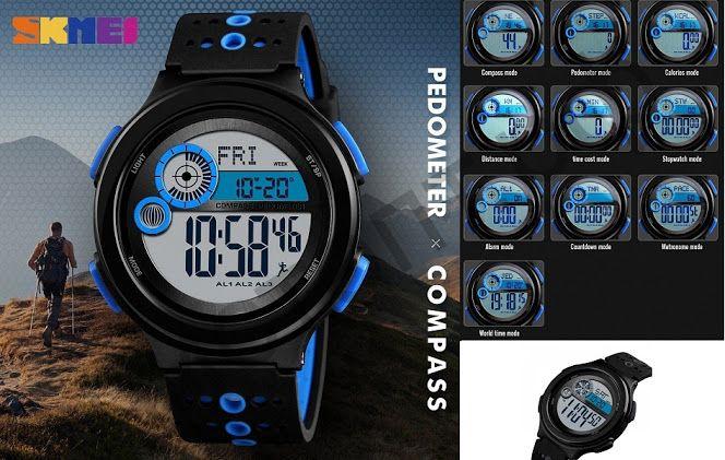 Часы наручные Skmei 1375 подсветка ,секундомер , будильник шагомер Высокое качество Водонепроницаемые !